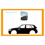 PIASTRA SPECCHIO SINISTRA ASFERICA CROMATA per SMART - FORFOUR - Mod. 09/14 -
